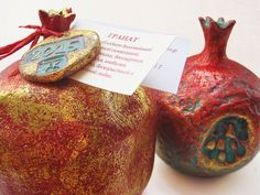 Composition with pomegranates (ceramics, golden potal), unique, stamped by…