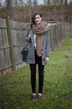 "Yellow Blanket Zara Scarves, Gray Tweed Jack By BB Dakota Coats | ""Houndstooth & Tweed"" by CourtneyElizabeth"