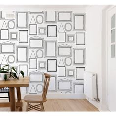 Let your walls tell your story with your own unique picture wall!  Crown Picture Wall Black/White Wallpaper | Inspired Wallpaper