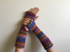 Fingerless Gloves Orange Blue Green Hand Warmers Arm by SimonKnits