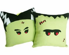 Set of 2 Halloween Throw Pillows, Mr and Mrs Frankenstein by PillowThrowDecor