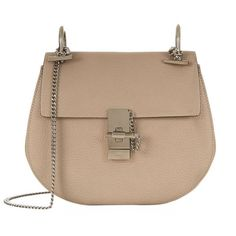 Chloé Small Drew Shoulder Bag (11.775 HRK) ❤ liked on Polyvore featuring bags, handbags, shoulder bags, round purse, lambskin purse, chloe shoulder bag, lambskin handbag and beige purse
