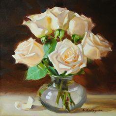 """White Roses in Vase"" - Original Fine Art for Sale - © Elena Katsyura"