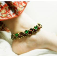 Red & green kundan anklet - Online Shopping for Anklets by Heartstrings by Jyoti Sudhir