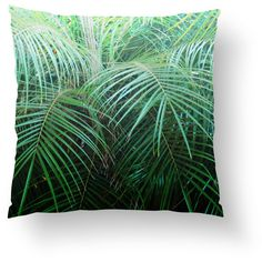 Jungle Palms Throw Pillow, Botanical Green Tropical Decor, Beach Surf... ($45) ❤ liked on Polyvore featuring home, home decor, throw pillows, tropical palm plants, beach home decor, green accent pillows, beach throw pillows and surf home decor