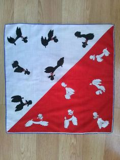 Vintage 1950s Poodle Handkerchief Hankie Red and White with Black and White Poodle Print by bycinbyhand, $35.00
