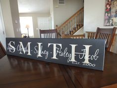 Hey, I found this really awesome Etsy listing at http://www.etsy.com/listing/112901013/personalized-family-name-sign-family
