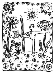 Yoga Kitties Coloring Book Hippie Art hippie by DawnCollinsArt ...