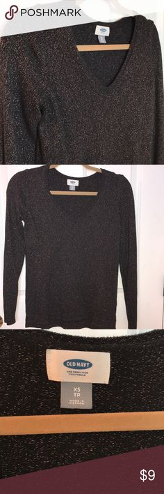 Sparkly sweater In excellent condition only worn once. Black and Gold. Old Navy Sweaters V-Necks
