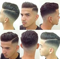 Cut and Style Cut: Clippers fading up to a on back and sides with texturised scissor cut on top. Styling products: Red Muk Styling Paste for texture and hold, finished with hairspray Short Hair Cuts, Short Hair Styles, Look 2015, Barbers Cut, Boy Hairstyles, Modern Hairstyles, Moustaches, Haircuts For Men, Men's Haircuts