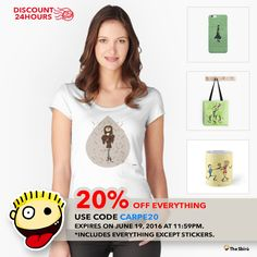 DISCOUNT 24HOURS 20% Off everything Use code CARPE20 Expires on June 19, 2016 at 11:59pm. Includes everything, except stickers. http://www.redbubble.com/people/giuseppelen      #artwork #drawing #art #thesbirù #redbubble #artprint #shopart #children #joy #child #fun #funny #humor #happiness #childhood #smile #kid #illustration #tshirt #t-shirt #apparel