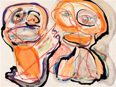 Artwork by Karel Appel, Two heads, Made of Watercolour and chalk drawing on paper