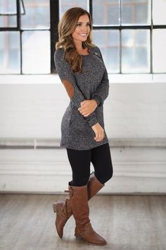 Looking for women's boutique tops that will really set your ensemble apart? find your go-to cute, affordable tops and shop your old favorites at closet Fall Outfits, Casual Outfits, Cute Outfits, Fashion Outfits, Fall Dresses, Fashion Women, Fashion Trends, Cute Sweaters For Fall, Black Tunic Dress