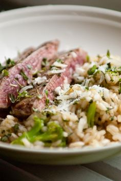 Elk with broccoli risotto