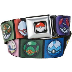 Hot Topic Pokemon Mixed Pokeball Seat Belt Belt ($20) ❤ liked on Polyvore featuring accessories, belts, multi and buckle belt
