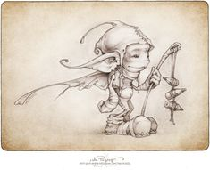 a drawing of Keecu the gatekeeper by the Picsees Fairy Drawings, Fantasy Drawings, Fantasy Art, Magical Creatures, Fantasy Creatures, Elves And Fairies, Desenho Tattoo, Fairy Art, Faeries