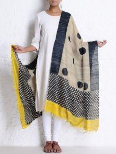 Beige-Black-Yellow Organic Silk Handwoven & Handblock Printed Dupatta
