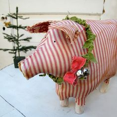 Striped Christmas piggy