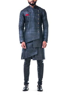 Charcoal Black Overlapped Ghicha Kurta Set by Anju Agarwal Indian Attire, Indian Outfits, Indian Aesthetic, Bespoke Clothing, Designer Suits For Men, Nehru Jackets, Men's Collection, Mens Suits, Military Jacket