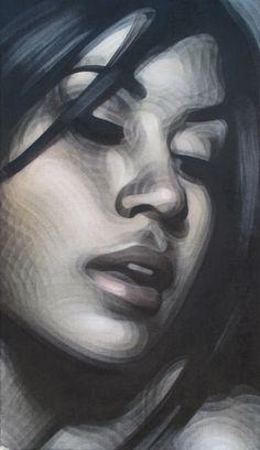 """Faces of Life"" - ElMac, spray paint on burlap, 2009 {contemporary figurative artist beautiful female head textured woman face portrait #noveltechnique painting #loveart} elmac.net"