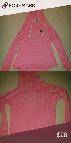 💕SALE💕 PINK VS Oversized Light Open Back Hoodie Pink w PINK written twice in  metallic silver....GUC.... Feel free to ask any questions like additional pics or measurements ✅Make an offer through OFFER button ONLY ✅Negotiations welcome ❌No trades ❌No PayPal PINK Victoria's Secret Tops Sweatshirts & Hoodies