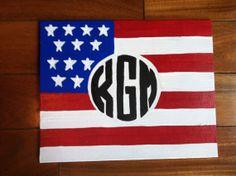 American Flag Monogram Canvas