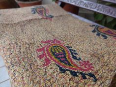 Vintage Kantha QuiltKantha Paisley by IndianHomeTextile on Etsy, $38.99