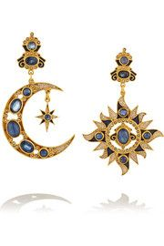 Percossi PapiGold-plated sapphire, kyanite and pearl earrings