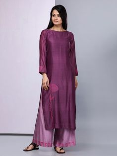Purple Embroidered Chanderi Silk Kurta with Cotton Silk Palazzo - Set of 2 Silk Kurti Designs, Salwar Designs, Purple Dress Casual, Casual Dresses, Suits For Women, Clothes For Women, Embroidery Fashion, Indian Designer Wear, Pakistani Dresses