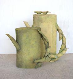 Handbuilt  sculptural earthenware teapot, peapod handle. House of Ceramics, etsy