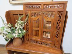 Shutter Wall, Window Shutters, Balinese, Wood Carving, Wall Mirror, Mirrors, Painted Furniture, Teak, Wall Decor