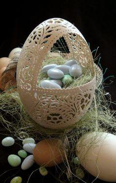 Hand Carved Victorian Lace Rhea Egg Basket egg shell art