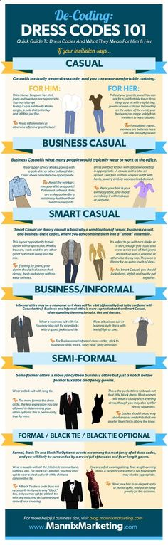 Learn to decode a dress code. | 18 Helpful Diagrams To Solve All Your Clothing Woes