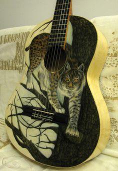 "Painted guitar by Aspasija T. P. ""Lynx on tree"""