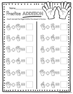ADDITION - kindergarten worksheets to practice addition - equations - pictures - easy math center #noprep #kindergarten