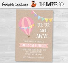 Hot Air Balloon Kraft Birthday Invitation by TheDapperFoxDesigns