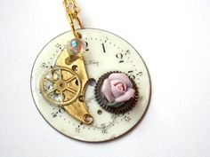 """Victorian Steampunk Necklace  """"An Enchanted Hour""""  by TimeMachineJewelry"""