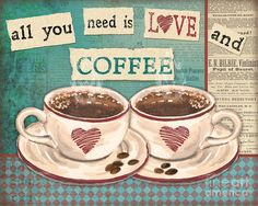 Coffee Love-jp3593 Painting by Jean Plout
