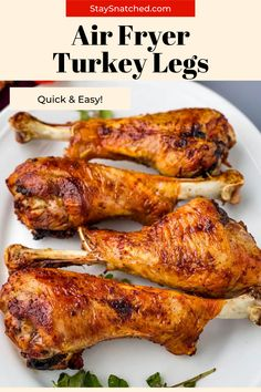 These Easy Air Fryer Turkey Legs are seasoned and roasted to perfection with crispy skin. Serve these for weeknight dinners or as main dish for the holidays and Thanksgiving! Air Fry Recipes, Air Fryer Dinner Recipes, Turkey Seasoning, Baked Turkey Wings, Meal Prep Guide, Air Fryer Chicken Wings, Turkey Legs, Summer Meal Planning, Air Fryer Healthy