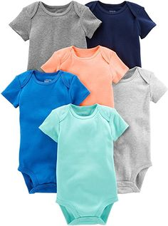 88b24a1fdf14 Six short-sleeve bodysuits in baby-soft cotton featuring stripes