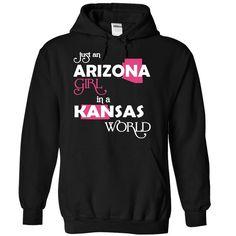 (Arizona001) Just 【ᗑ】 An Arizona Girl In A Kansas WorldIn a/an name worldt shirts, tee shirts