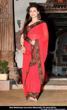 This red color rani mukhjee saree looks awesome and the border of the saree looks more beautiful so, if you are planning to attend any event this saree is the perfect option fo those.