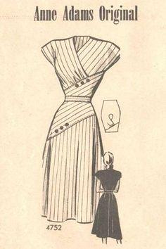 Anne Adams Sobrepelliz de 1940, Diagonal recuadro Vestido Patrón Busto 40 - Haga clic en la imagen para cerrar