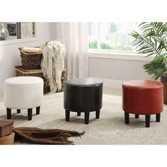 "Furniture of America Ozzo Modern Leatherette Round Ottoman $59.39 - 16"" diameter, 16"" high"