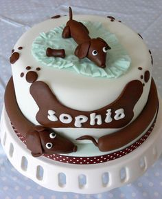 """A sausage dog birthday cake for a Dachshund-obsessed girl! Fancy Cakes, Cute Cakes, Dog Cakes, Cupcake Cakes, Dachshund Cake, Daschund, Animal Cakes, Gateaux Cake, Love Cake"
