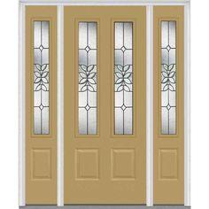 Milliken Millwork 68.5 in. x 81.75 in. Cadence Decorative Glass 2 Lite Painted Fiberglass Smooth Exterior Door with Sidelites, Sandal