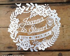 Silhouette Cameo SVG Wedding Day / Wedding Anniversary Papercutting template design from Samantha's Papercuts