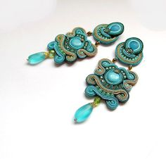 Statement Earrings Soutache Jewelry Turquoise от IncrediblesTN, $69.00