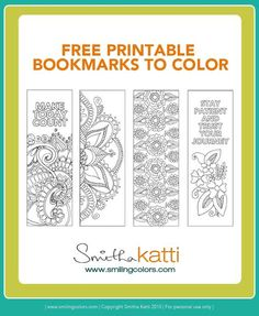 Free Printable Bookmarks to Color! Adult coloring pages, stress relieving patterns. Www.smilingcolors.com