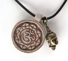 Om Necklace Buddha Pendant Necklace Protection by BlueStoneRiver, $27.95